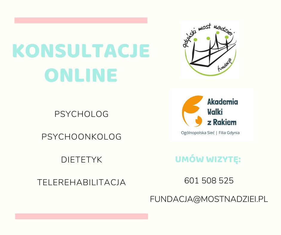 Konsultacje online: psycholog, psychoonkolog, dietetyk i telerehabilitacja.